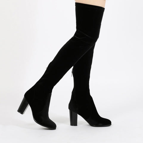 Black Velvet Thigh High Minimalist Boots