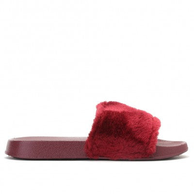 Faux Fur Slides Ruby
