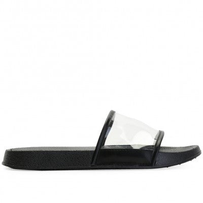 Clear Lucite Sliders in Black