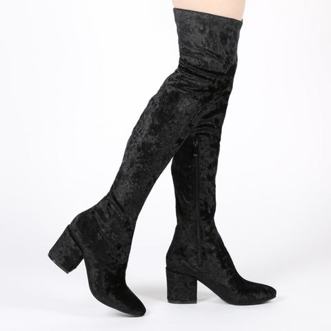 Block Heel Over The Knee Boots Black