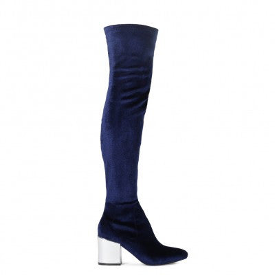 Block Heel Over The Knee Boots Navy Silver