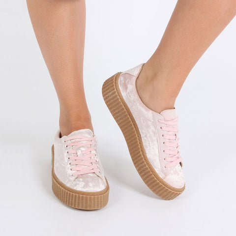 The Crushed Velvet Creepers Pink