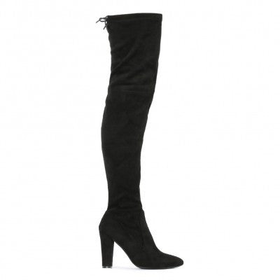 JANINE OVER THE KNEE BOOTS IN BLACK FAUX SUEDE