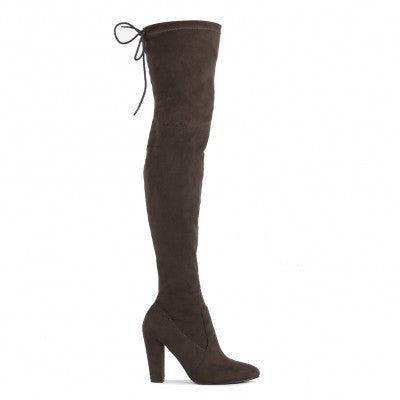 JANINE OVER THE KNEE BOOTS IN DARK GREY FAUX SUEDE