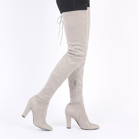 Grey Thigh High Block Heel Boots