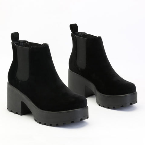 Chunky Chelsea Ankle Boots Black Suede