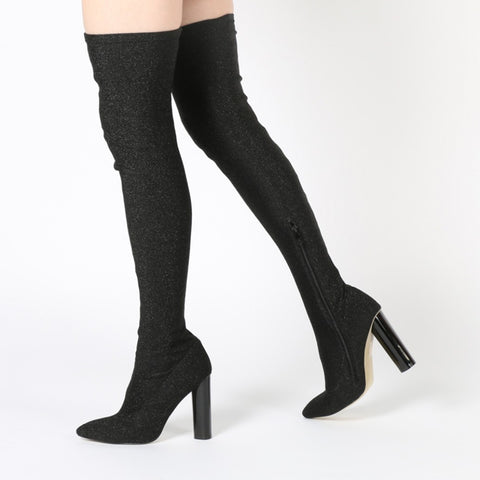 DOMINIQUE LONG BOOTS IN BLACK SHIMMER
