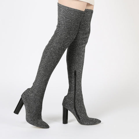 DOMINIQUE LONG BOOTS IN GREY SHIMMER