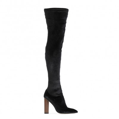 DOMINIQUE LONG BOOTS IN BLACK VELVET