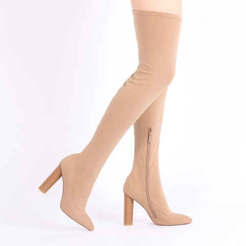 DOMINIQUE LONG BOOTS IN NUDE STRETCH