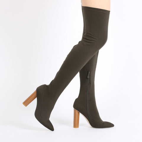 DOMINIQUE LONG BOOTS IN KHAKI STRETCH
