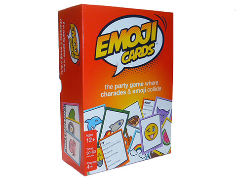 "<span style=""font-weight:200;""><span style=""color: #e32525; font-weight:bold;"">Emoji Cards</span><br /><i>The NEW party game where charades & emoji collide!</i><br /></span>"