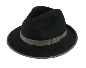 Avenel 'Barney' Crushable Wool Felt Fedora in Black