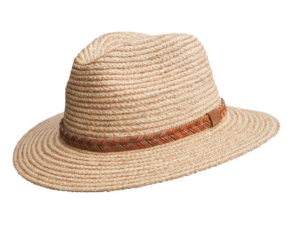 Avenel Raffia Safari Fedora with Arrow Braid Band
