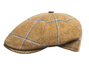 Cappellificio Biellese Ivy Shape Flat Cap in Olive Check Wool Tweed