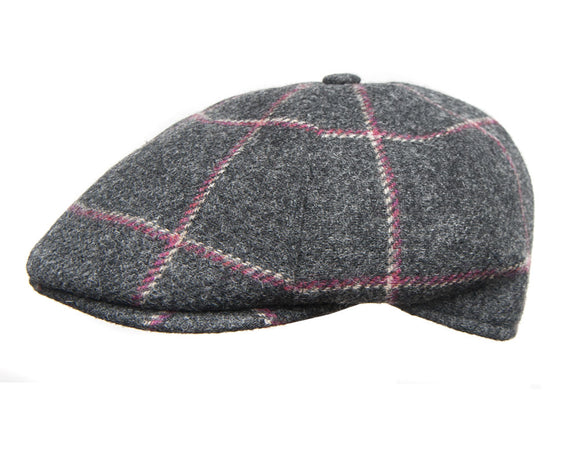 Cappellificio Biellese Ivy Shape Flat Cap in Grey Check Wool Tweed