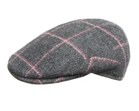 Cappellificio Biellese Flat Cap in Grey Check Wool Tweed