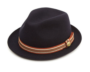Christys 'Cheltenham Triple' Wool Felt Trilby in Navy