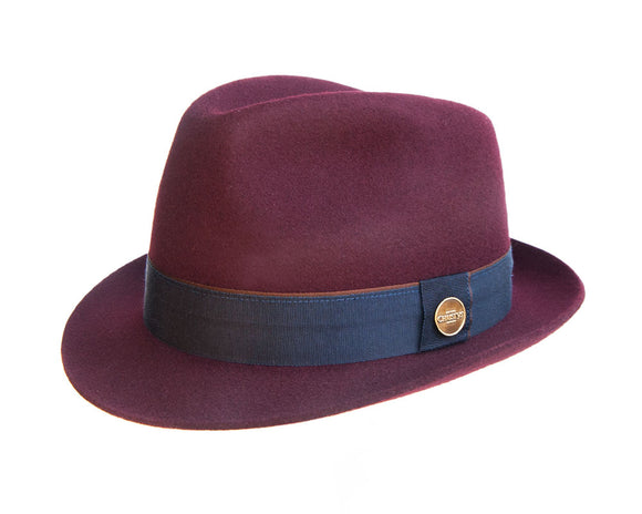 Christys 'Winchester' Wool Felt Trilby in Maroon