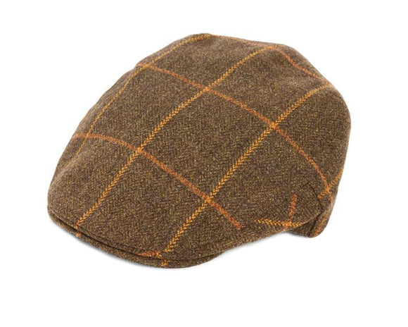 Christys 'Balmoral' Tweed Flat Cap in Green