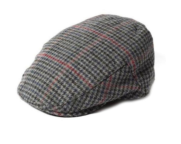 Failsworth 'Norwich' Houndstooth Pattern Flat Cap in Grey