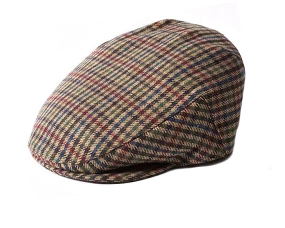 Failsworth 'Norwich' Houndstooth Pattern Flat Cap in Olive Green