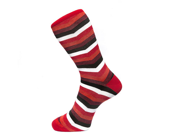 Fortis Green Men's Socks in Red Chevron Stripes