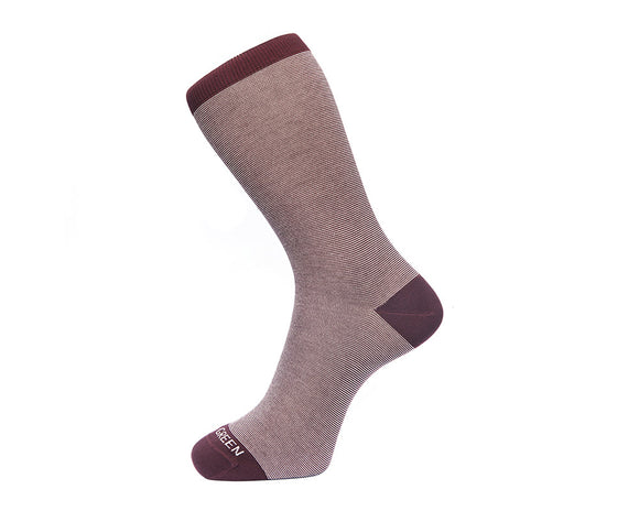 Fortis Green Men's Socks in Burgundy Fine Stripes