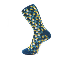 Fortis Green Men's Socks in Teal Microchecks