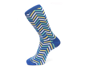 Fortis Green Men's Socks in Sky Blue Zig Zags