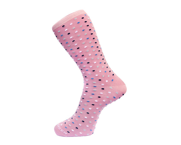 Fortis Green Men's Socks in Pink Microdots