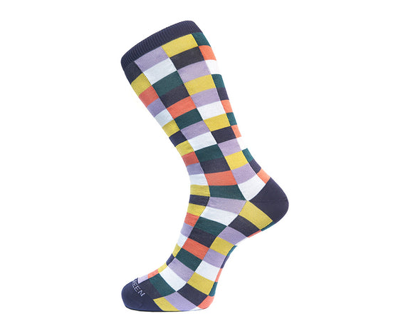 Fortis Green Men's Socks in Purple Checks