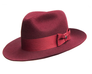 Hills Hats Merino Wool Fedora in Burgundy