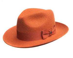 Hills Hats Merino Wool Fedora in Orange
