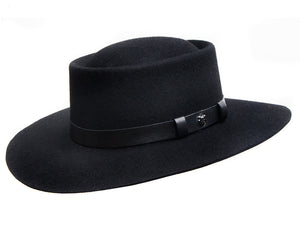 Hills Hats 'Grazier' Large Brimmed Outdoor Hat in Black Merino Wool