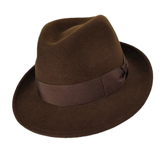 Stanton Premium Italian Made Foldable Wool Felt Trilby in Brown