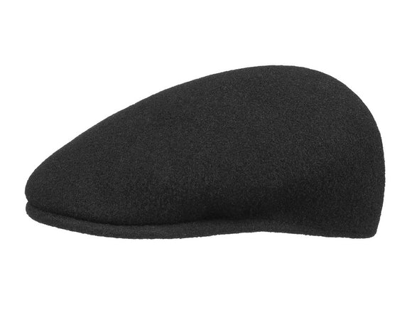 Kangol 504 Flat Cap in Black Wool