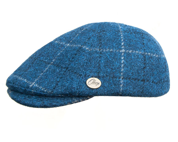 Olney 'Hudson' Ivy Shape Flat Cap in Navy Check Wool Tweed