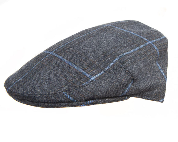 Olney 'Kinloch' Sport Flat Cap in Charcoal Check Saxony Tweed