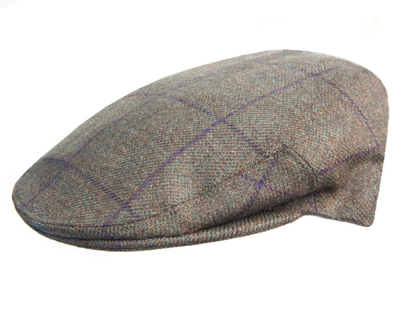 Olney 'Kinloch' Sport Flat Cap in Olive Check Saxony Tweed