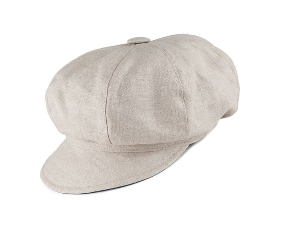 Olney 'Maggie' Ladies Baker Boy Cap in Natural Linen