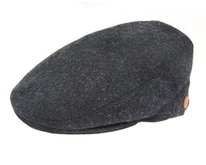 Olney 'Worcester' Flat Cap in Charcoal Grey Boiled Wool