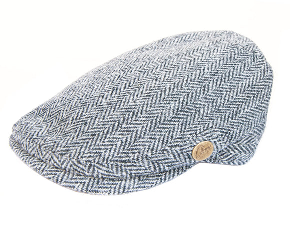 Olney 'York' Flat Cap in Grey Herringbone Harris Tweed