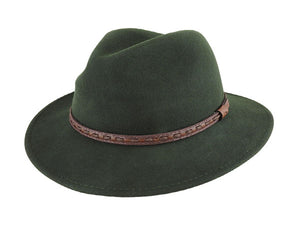 Scala Crushable Wool Felt Fedora in Olive Green