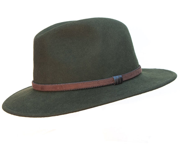 Stanton 'Laurence' Italian Made Foldable Wool Felt Fedora in Olive