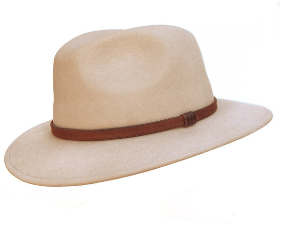 Stanton 'Laurence' Italian Made Foldable Wool Felt Fedora in Sand
