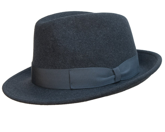 Stanton Premium Italian Made Foldable Wool Felt Trilby in Charcoal