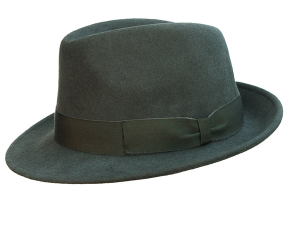 Stanton Premium Italian Made Foldable Wool Felt Trilby in Olive
