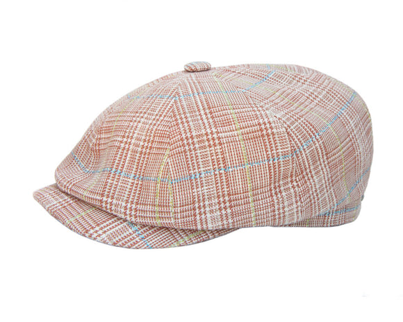 Stetson 'Hatteras' Baker Boy in Tan Plaid Check