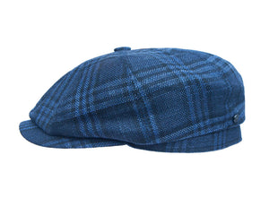 Stetson 'Hatteras' Wool/Silk Baker Boy Cap in Blue Check